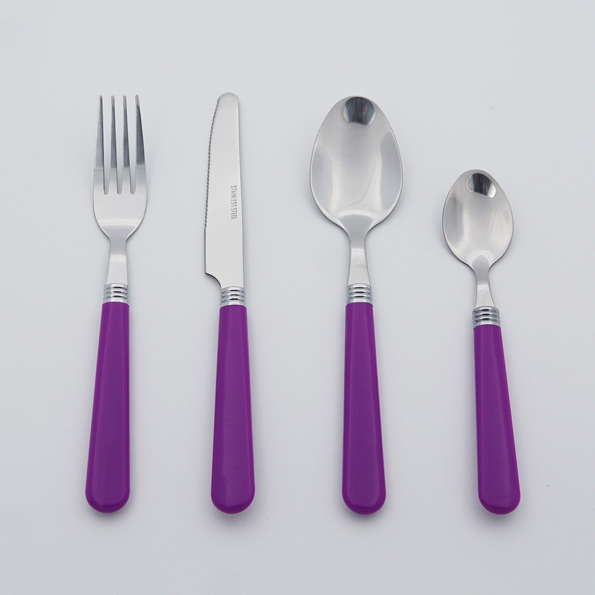Wholesale Classic Plastic Handle Mirror Polish Food Grade Stainless Steel Cutlery Flatware Silverware Set