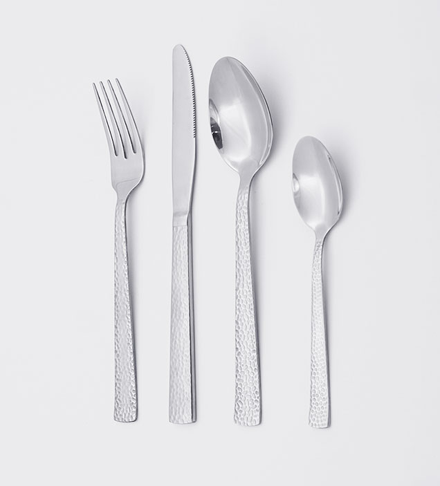 QZQ Hammered Modern Stainless Steel Cutlery Flatware Set Silverware Wholesale for Restaurant Hotel Amazon