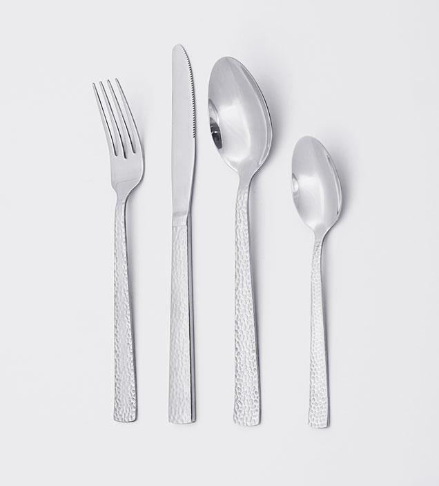 QZQ Hammered Modern Stainless Steel Cutlery Flatware Set Silverware Wholesale for Restaurant Hotel Amazon
