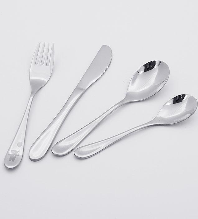 QZQ Wholesale Toddler Silverware Kids Flatware 18/10 Stainless Steel Children Cutlery Set