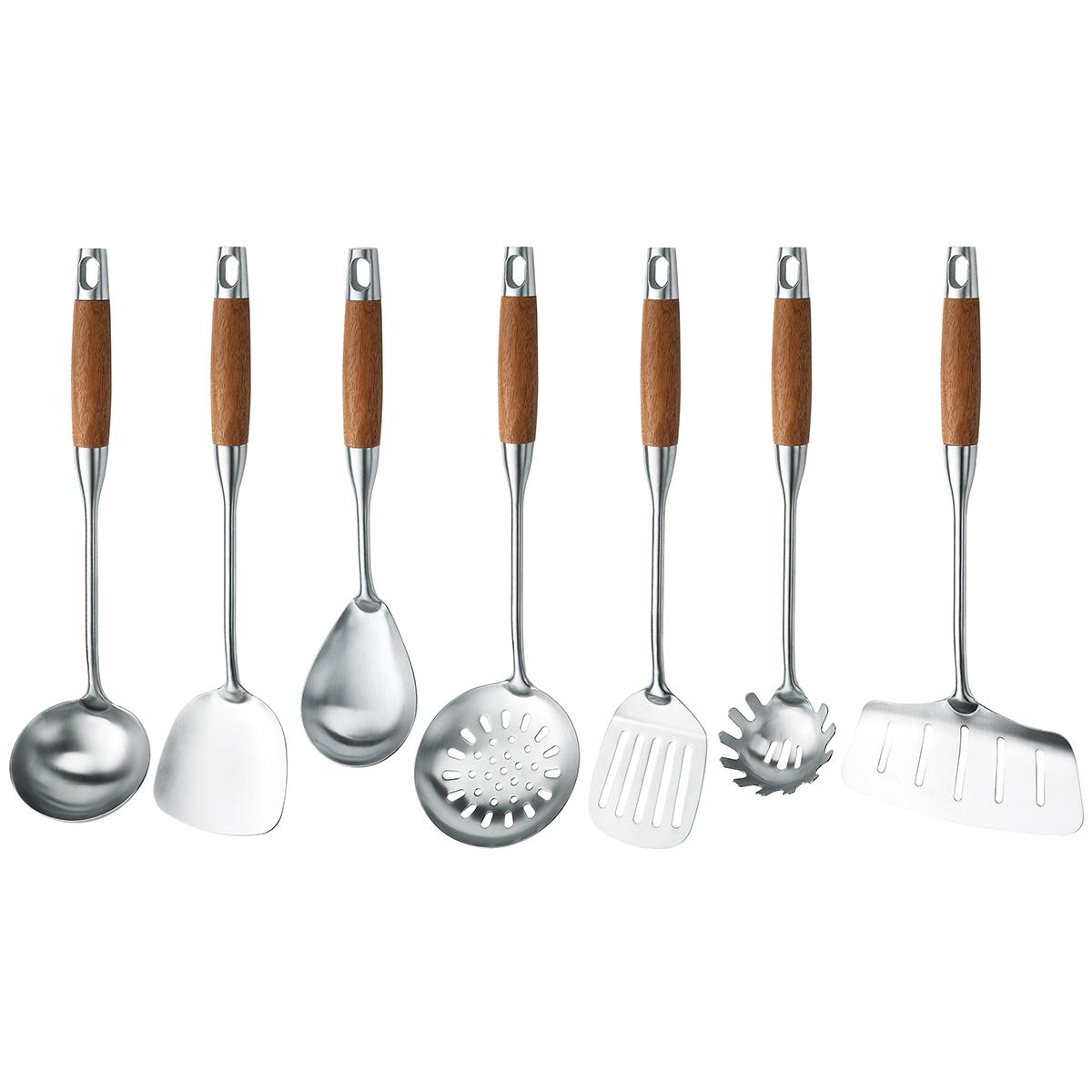 Stainless Steel 304 Wooden Handle Kitchenware Tools Utensils Set