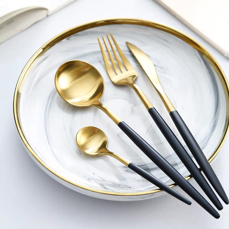 SUS304 Gold Plated Knife Spoon Fork Stainless Steel Portugal Style Cutlery