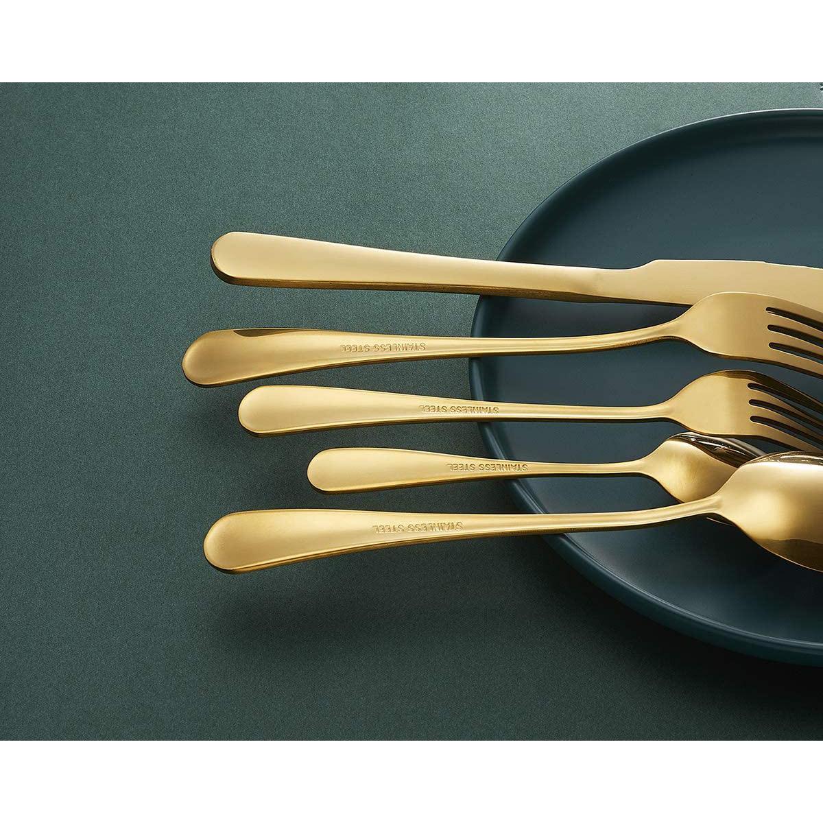 Wholesale Amazon Hot Gold Flatware Restaurant Shiny Stainless Steel Cutlery Set