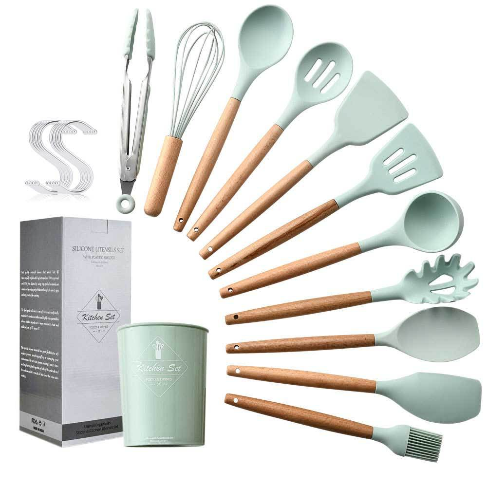 11pcs Silicone Cooking Kitchen Utensils Set Wooden Handles Cooking Tool BPA Free Non Toxic Silicone Turner Tongs Spatula