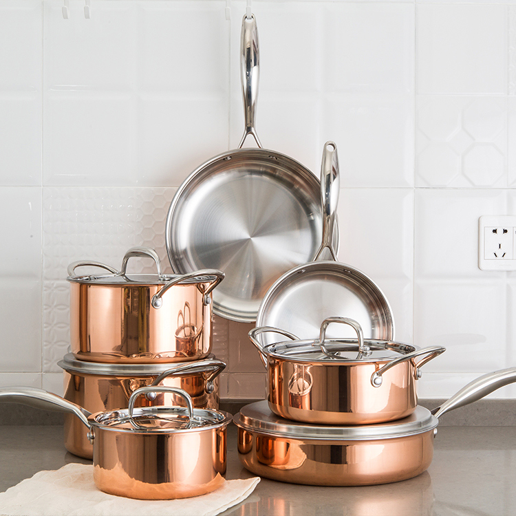 Cookware Set Non Stick Induction Cookware Copper Pots and Pans Set with Induction Bottom and Dishwasher and Oven Safe