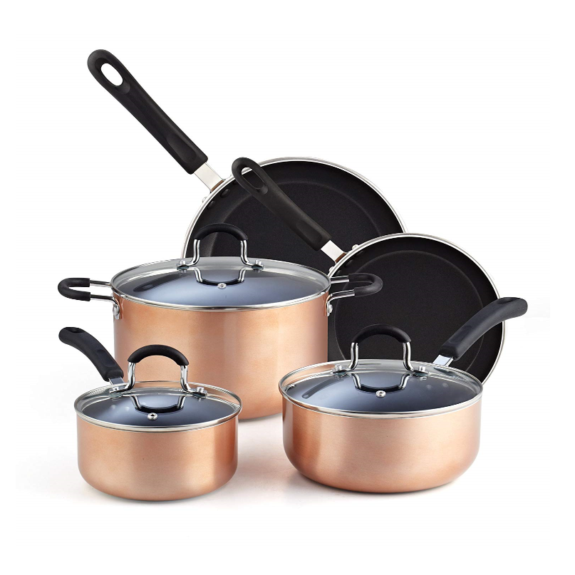 Copper Nonstick Cookware Set Dishwasher and Oven safe Pots and Pans 12Piece Various Sizes of Fry Pan and Sauce Pan