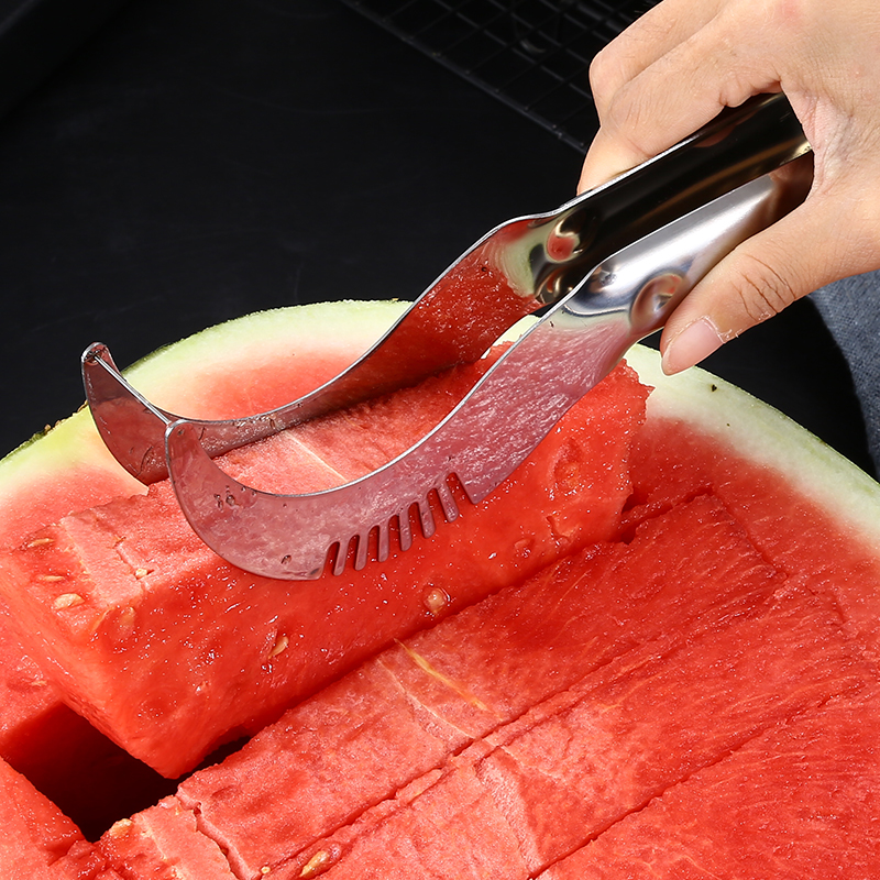 High Quality Kitchen Large Thick Household Stainless Steel Cantaloupe Papaya Fruit Watermelon Cutter
