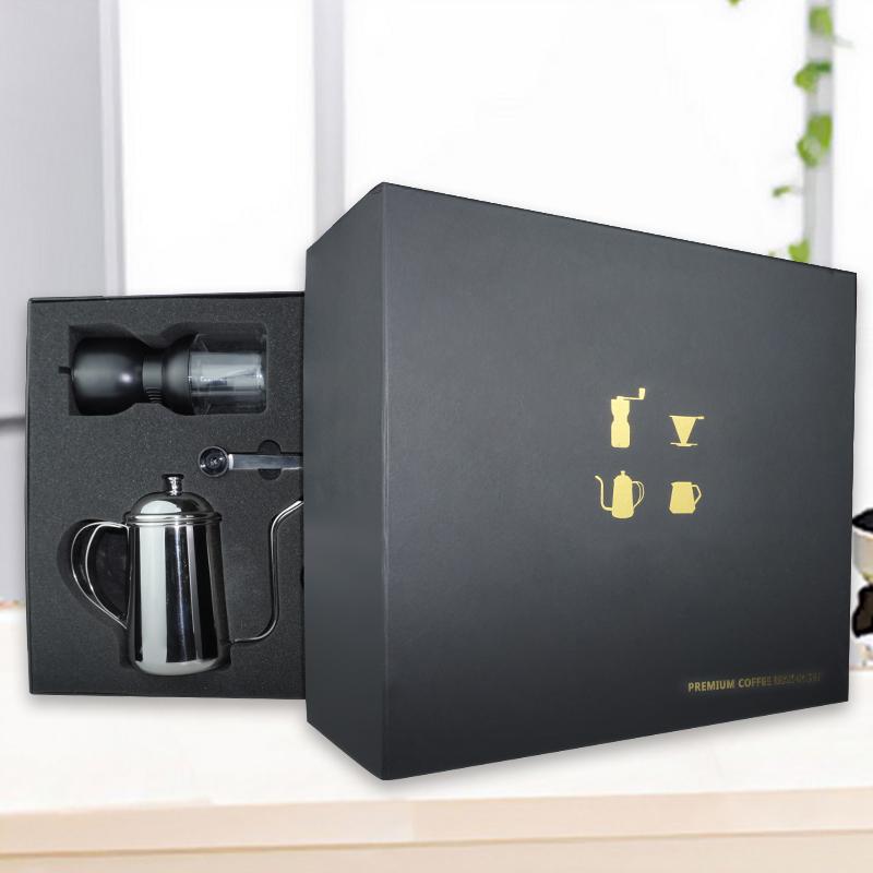 Amazon Hot Sell Coffee Grinder Gooseneck Kettle Glass Pot Reusable Coffee Filter Gift Set Manual Coffee Maker Set