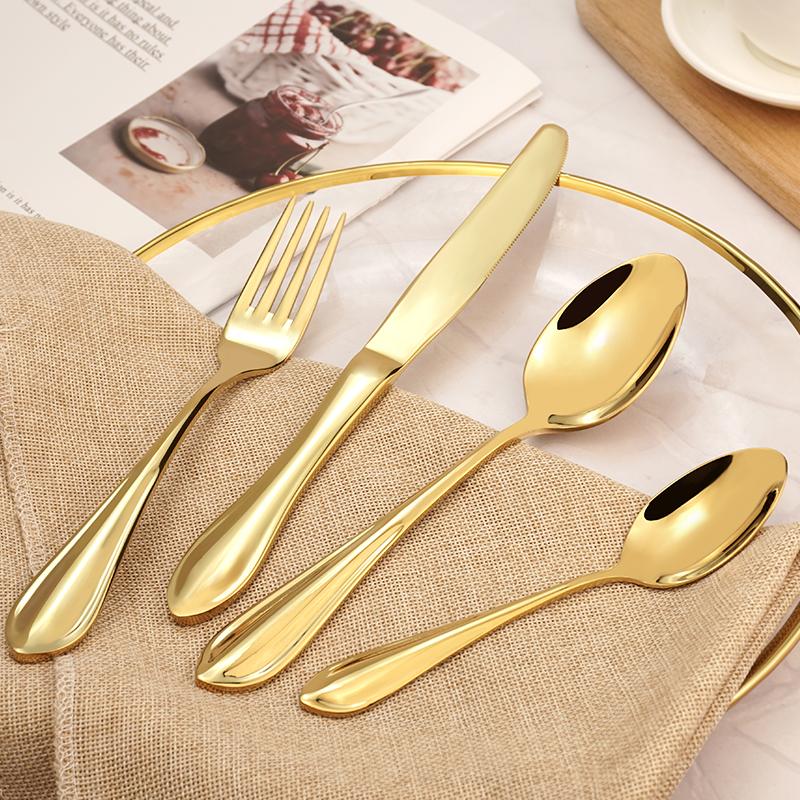 Top Rated Elegant Silverware Stainless Steel Cutlery Food Grade Flatware Set Wholesale for Restaurant Hotel Amazon