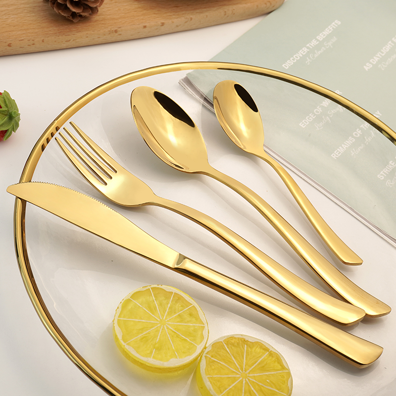 High Quality Modern Elegant Stainless Steel Cutlery Flatware Set Food Grade Silverware Wholesale for Restaurant Hotel Amazon